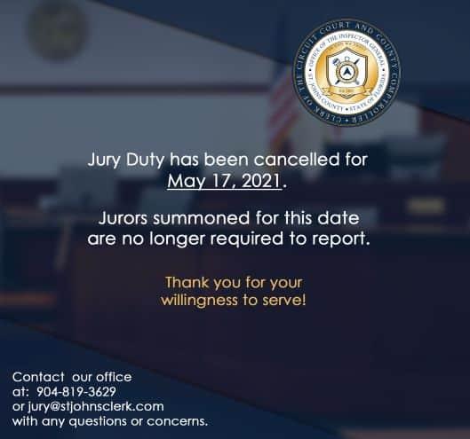 Jury Duty Canceled For May 17