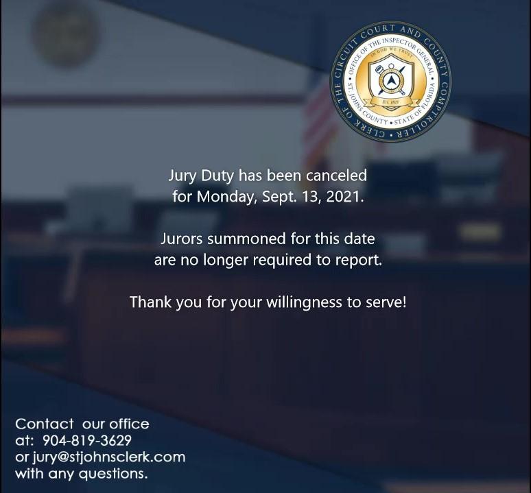 Jury Duty Canceled for September 13